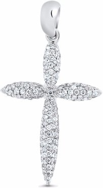 Diamond Cross Pendant 14k White Gold