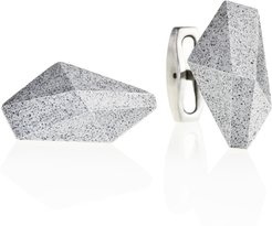 Crystal Concrete & Surgical Steel Cufflinks Grey