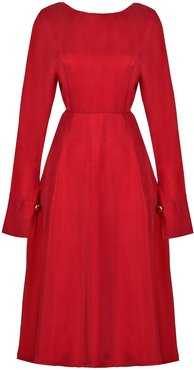 Shay Red Hand-Crafted Long Sleeve Backless Midi Dress