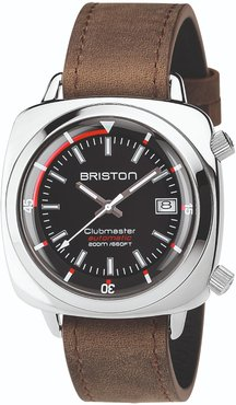 Briston Clubmaster Diver Automatic Polished Steel, Black Dial And Vintage Leather Strap