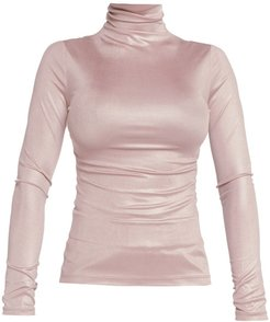 Soft Touch Metallic Turtleneck Long Sleeve Top In Pale Pink