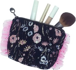 Ophelia Small Botanical Jacquard Ruffle Make Up Bag