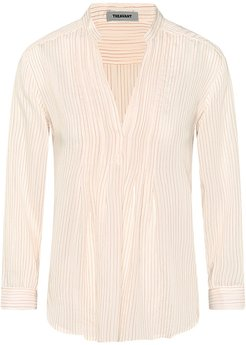Pleated Blouse With Pinstripes