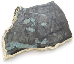 Raw Emerald & Gold Platter -Medium
