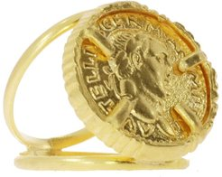 Cezar Gold Coin Double Band Cocktail Ring