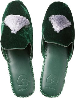 Mens Velvet Slippers - Dark Green