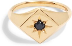 North Star Signet Ring With Black Diamond - 14k Yellow Gold