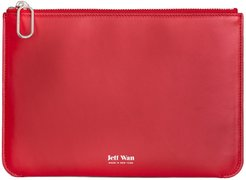 Leather Zip Clutch Red Port Louis Pouch