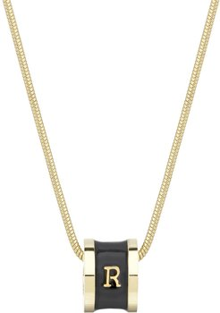 Initial R Necklace 18Ct Gold Plated With Black Enamel