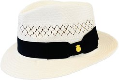 Trilby Open Crown White Vented Panama Hat 'Jack' Snap Brim Italian Bow