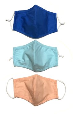 3 Pack 100% Organic Cotton Face Mask (W/ Filter Pocket) - Blue/Navy/Coral