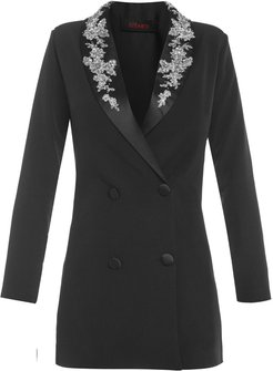 Long Sleeve Decorated Lapel Tailored Blazer Dress