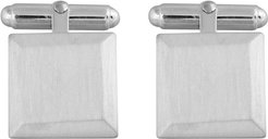 Bevelled Square Cufflinks In Silver Brushed Matte Finish Chamfered Edge Square Cufflinks