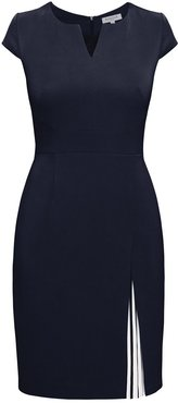Mariana Midnight Blue Stretch Crepe Dress With Capped Shoulder & Pleated Deatail