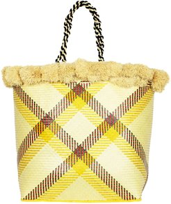 Delhia Large Straw Basket With Pompoms In Yellow & Natural