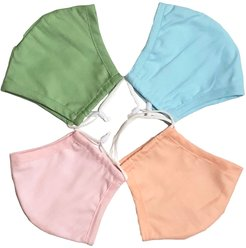 4 Pack 100% Organic Cotton Face Mask (W/ Filter Pocket) - Pink/Green/Blue/Coral