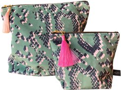 Pouch Wash Bag Scaled Green Print Small