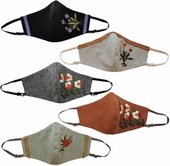 5 Pack Adjustable Triple Layer Cotton Face Masks - Nose Wire & Embroidery Details Fall Series 2