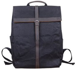 Fold-Over Waxed Canvas & Leather Backpack In Charcoal Black