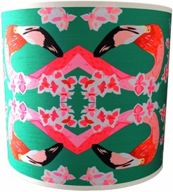 Flamingos & Flowers Abstract Lampshade