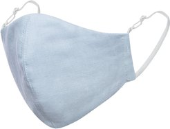 Light Blue Linen Cotton Face Mask With Filter Pocket