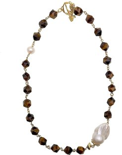 Faceted Tiger Eyes With Baroque Pearls Chain Necklace