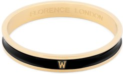 Initial W Bangle 18Ct Gold Plated With Black Enamel