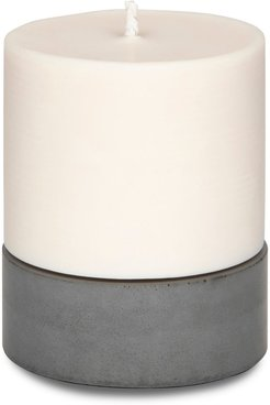 Large Tobacco & Oak Soy Wax Candle & Concrete Candle Holder In Grey