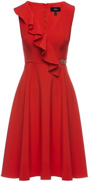 Red Front Ruffle Detail Midi Dress