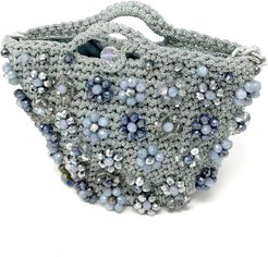 Small Shiny Silver Bag with Flowers Jewel Embroidery