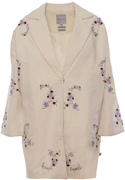 Naia Hand-Embroidered Coat In Cream