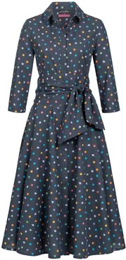 Shirtdress With Tie Belt & Bubbles Print