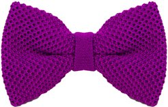 Purple Solid Silk Knitted Bow Tie