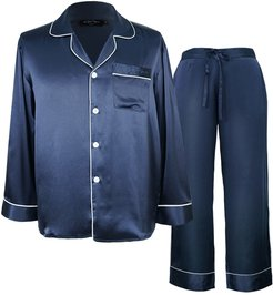 Classic Men Silk Pajama 2-Piece Set - Dark Blue