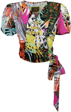 Double-Breasted Blouse With Abstract Floral-Print
