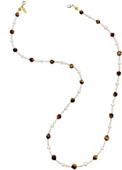 Removable Freshwater Pearls & Tiger Eye Glasses Chain