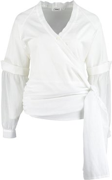 White Organic Cotton Wrap Top