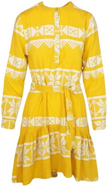 High-Low Belted Embroidered Cotton Dress With Front Panels - Sunrise