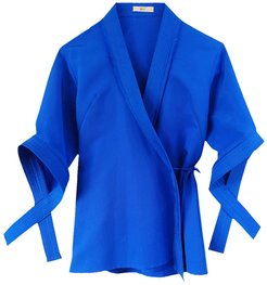 Blue Silk Cotton Faille Wrap Top With 3/4 Sleeves & Criss-Cross Details