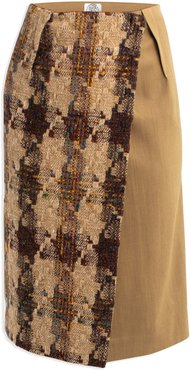 Pencil Wrap Skirt In Donegal Tweed & Contrast Gold Worsted Wool From Savile Row