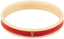 Initial Y Bangle 18Ct Gold Plated With Red Enamel