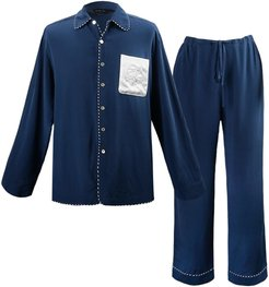Pocket Embroidery Long Pajama Set - Dark Blue