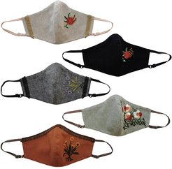 5 Pack Adjustable Triple Layer Cotton Face Masks - Nose Wire & Embroidery Details Fall Series 1