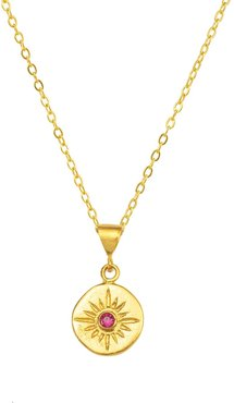 Vega Gold Star Necklace With Pink Crystal
