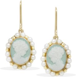 Little Lovelies Gold-Plated Green Cameo Pearly Earrings