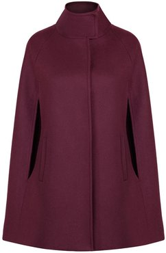 Wool Cashmere Single Breasted Cape Bordeaux