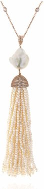 Pearl Baroque Tassel Necklace in Rose Gold