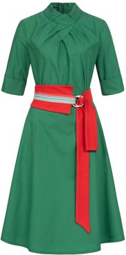 Franchesca Dress Green with Two Belts