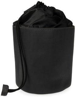 Luxe Black Leather Drawstring Wash Bag
