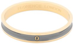 Initial O Bangle 18Ct Gold Plated With Grey Enamel
